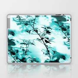 Silhouette of songbird on a branch in turquoise variation #decor #society6 Laptop & iPad Skin
