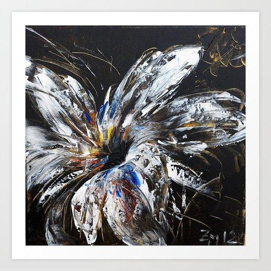 white flower on black background, painted Art Print