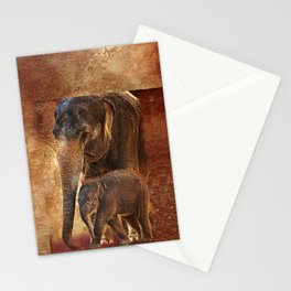 Asian Mother Elephant with Baby Stationery Cards