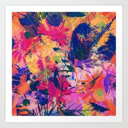 Colorful abstract leaves 2 Art Print