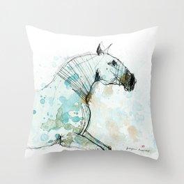 Horse (Lusitano Blue) Throw Pillow