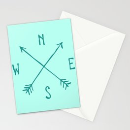 Find My Way \\ Teal Compass Art Stationery Cards