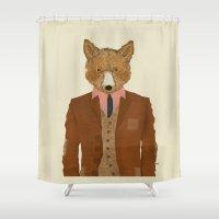 mr fox Shower Curtains featuring mr fox by bri.buckley