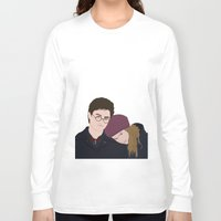 hermione Long Sleeve T-shirts featuring Merry Christmas, Hermione / Merry Christmas, Harry  by imsirius