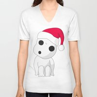 kodama V-neck T-shirts featuring Christmas Kodama by pkarnold + The Cult Print Shop