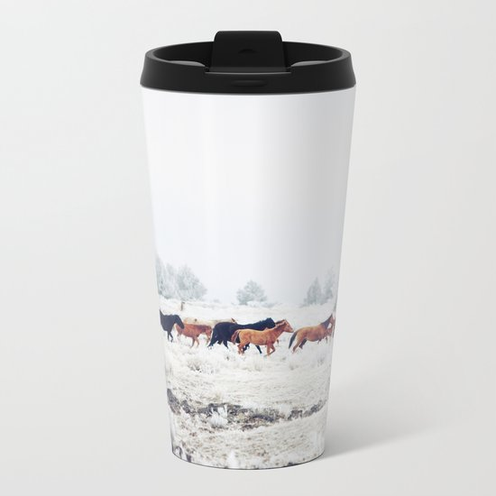 Winter Horse Herd Metal Travel Mug