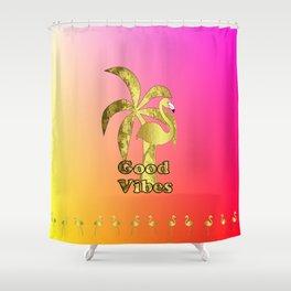 Tropical Summer Flamingo Shower Curtain