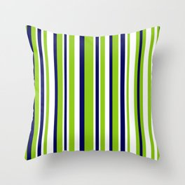 Lime Green Bright Navy Blue and White Vertical Stripes Pattern Throw Pillow