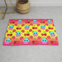 Cute funny sweet adorable happy little blue baby cupcakes, little cherries and red ripe summer strawberries cartoon fantasy yellow pink pattern design Rug