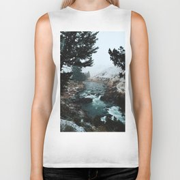 Rustic Creek in snow Biker Tank