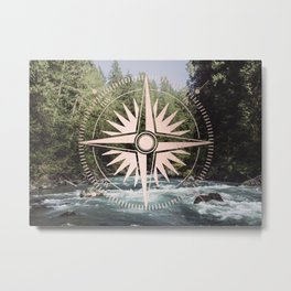 Rose Gold River Adventure Metal Print
