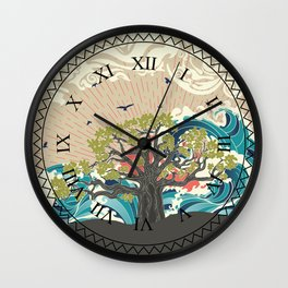 Stylized tree and stormy ocean or sea at sunset, art poster design Wall Clock