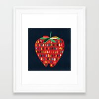 strawberry Framed Art Prints featuring Strawberry by Picomodi