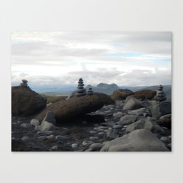 Icelandic rock stacking Canvas Print