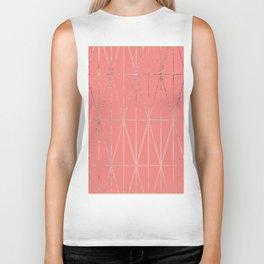 Modern geometric triangles faux rose gold coral pattern Biker Tank