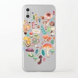 Mushroom heart Clear iPhone Case