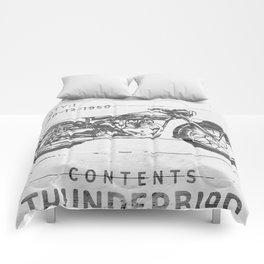 Vintage Triumph Thunderbird Motorcycle Comforters