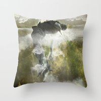 arya Throw Pillows featuring Man floating by ARTiSTiC TENDENCiES