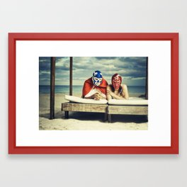 mexican luchadores on honey moon Framed Art Print