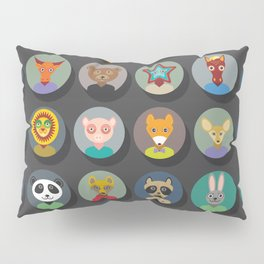 animals faces circle icons set in Trendy Flat Style. zoo Pillow Sham