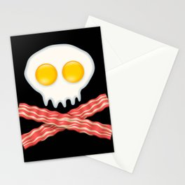 Skull With Crossed Bacon  Skull Bacon Eggs Stationery Cards