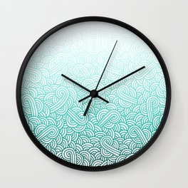 Gradient turquoise blue and white swirls doodles Wall Clock