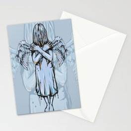 Gothic Girl Memento Mori Angel Girl Earns Her Wings Stationery Cards