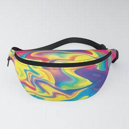 Rainbow Tie Dye Holographic Swirl Texture Fanny Pack