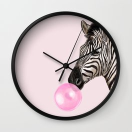 Zebra  Playing Bubble Gum Wall Clock