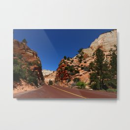 Red Road  Through Zion Park Metal Print