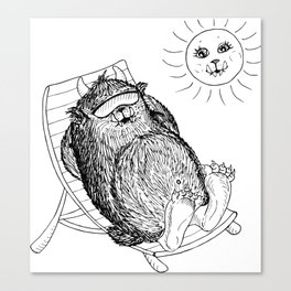 Mega Monster Sunbath BW Canvas Print