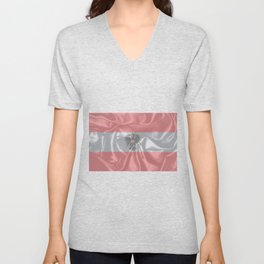 Silk Austrian Flag and Coat of Arms Unisex V-Neck