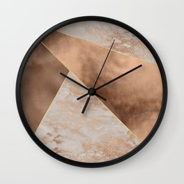 Copper Foil and Blush Rose Gold Marble Triangles Wall Clock