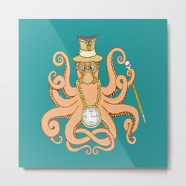 Steampunk Octopus Metal Print