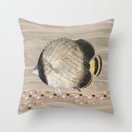 Butterfly Fish in Neutral Earth Tones Watercolor Throw Pillow