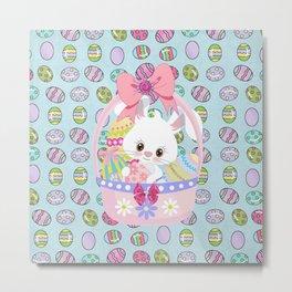 Easter Bunny Easter Basket Metal Print