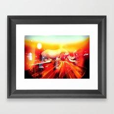 Elephant on the highway. Framed Art Print