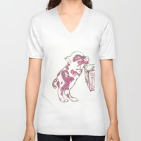 piglet V-neck T-shirts featuring 12. Lovely Piglet with Heart Pattern by Hennaart yume by kat