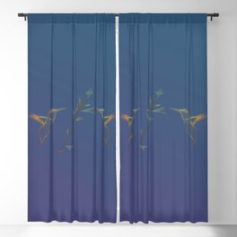 Line Art Flyin hummingbird bird nature wildlife flowers gradient background Blackout Curtain