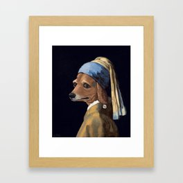 DOG WITH A PEARL EARRING Framed Art Print