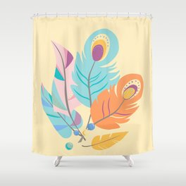 Stylized Peacock Feather Design Shower Curtain