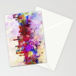 Jeddah skyline in watercolor background Stationery Cards