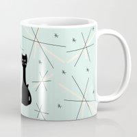 mid century Mugs featuring Mid Century Meowdern by Manda Sisco