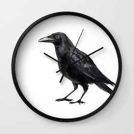 Illustration crows. Digital painting. Wall Clock