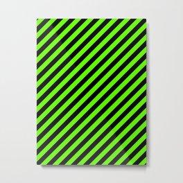 Bright Green and Black Diagonal RTL Stripes Metal Print