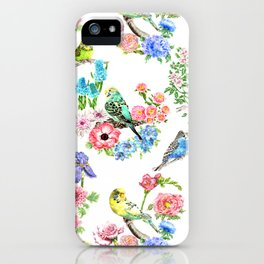 Budgies and Blooms iPhone Case