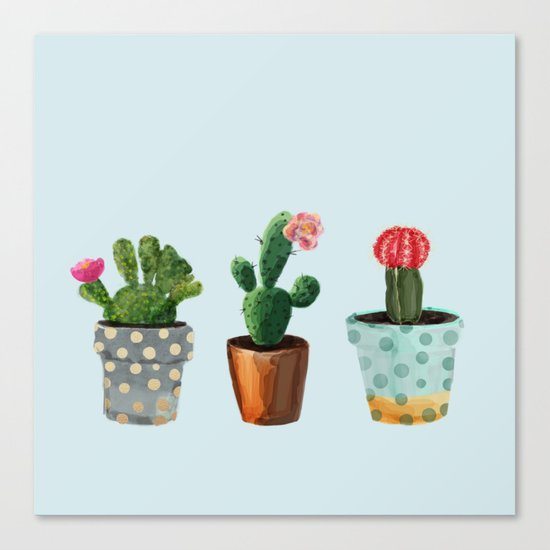 Three Cacti With Flowers On Light Blue Background Canvas Print
