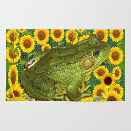 AVOCADO GREEN BOG FROG & YELLOW FLOWERS Rug