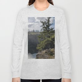 Beside The Falls, Beautiful Old Pine Tree Stands Sentry Beside A Watefall Long Sleeve T-shirt