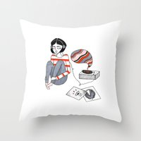 records Throw Pillows featuring records by Bunny Miele